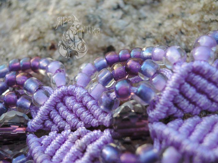элегантный широкий бусины оригинальный красивый хрустальные украшение бисер браслет сиреневый