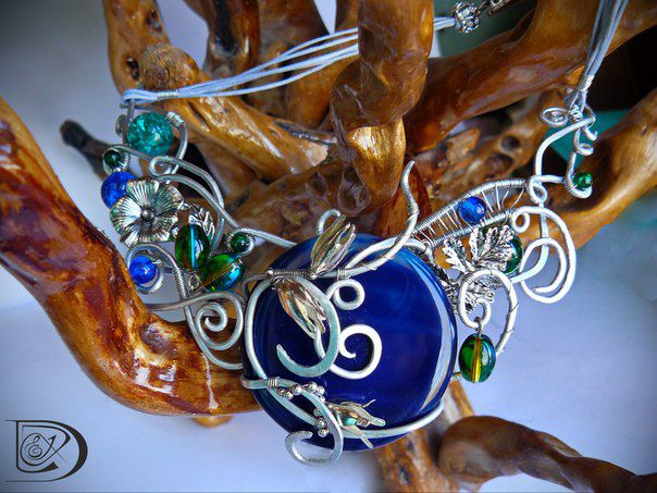 колье агат синий подарок кольеназаказ кулон кошачийглаз jewel гематит стиль красота handmade wirewrap бижутерия медь синийагат