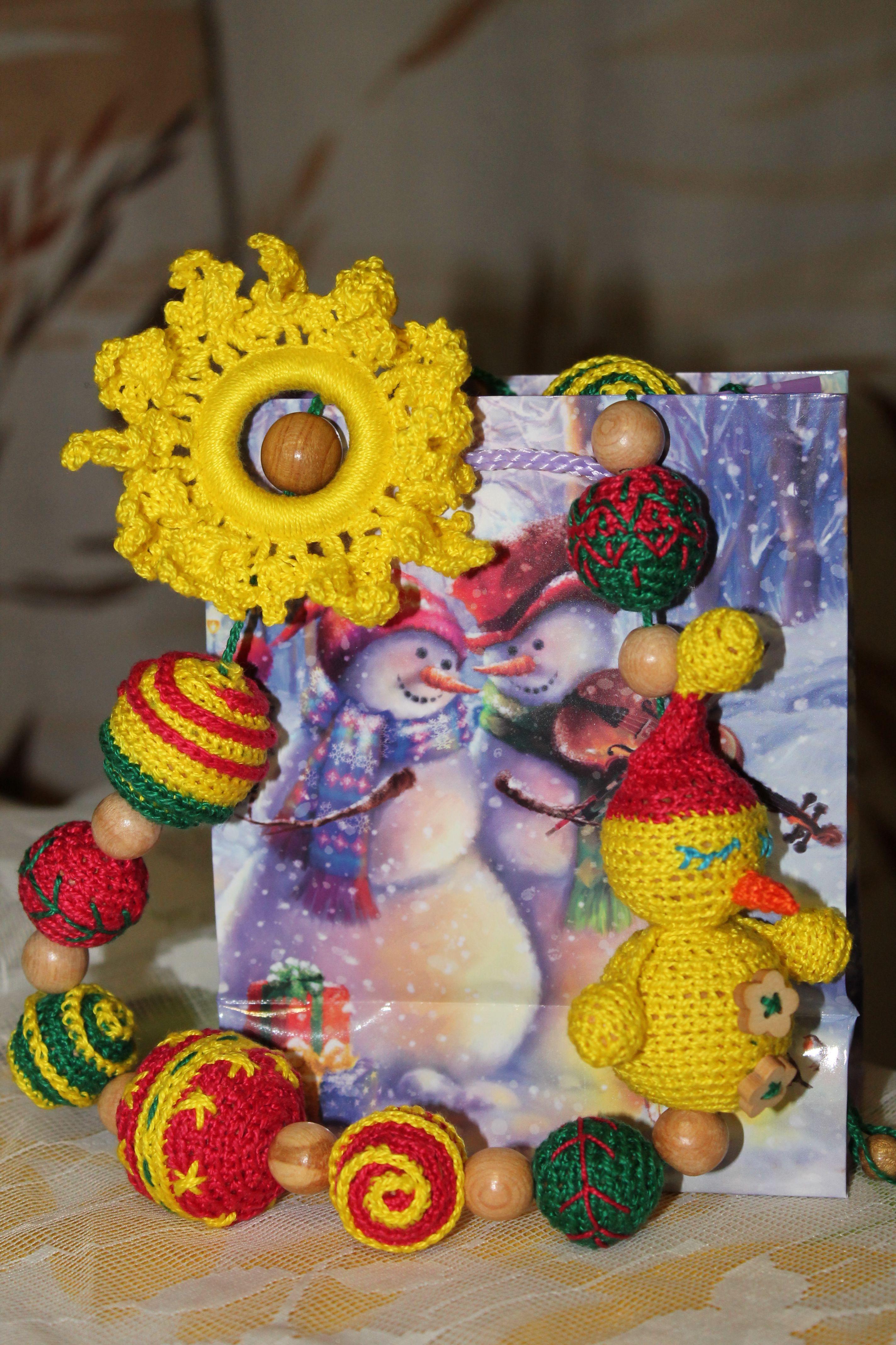 мамабусы новыйгод снеговик жевательныебусы развивающаяигрушка деревянныебусы кормительныебусы слингобусы вязанаяигрушка