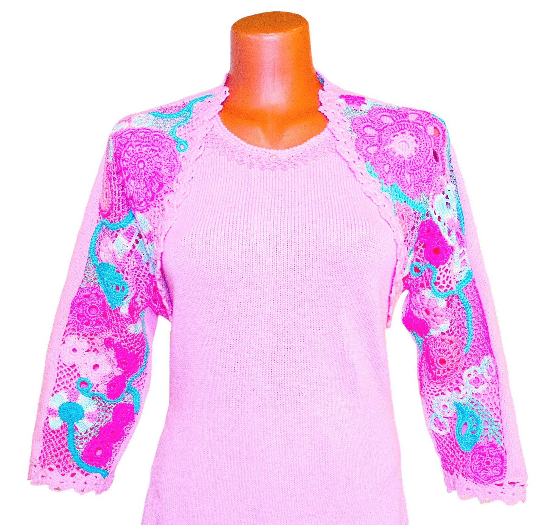 бледно-розовый ирландское авторский кружево вязаное дизайн фриволите с болеро платье вечернее