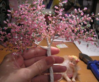 Деревья из бисера мастер класс 11