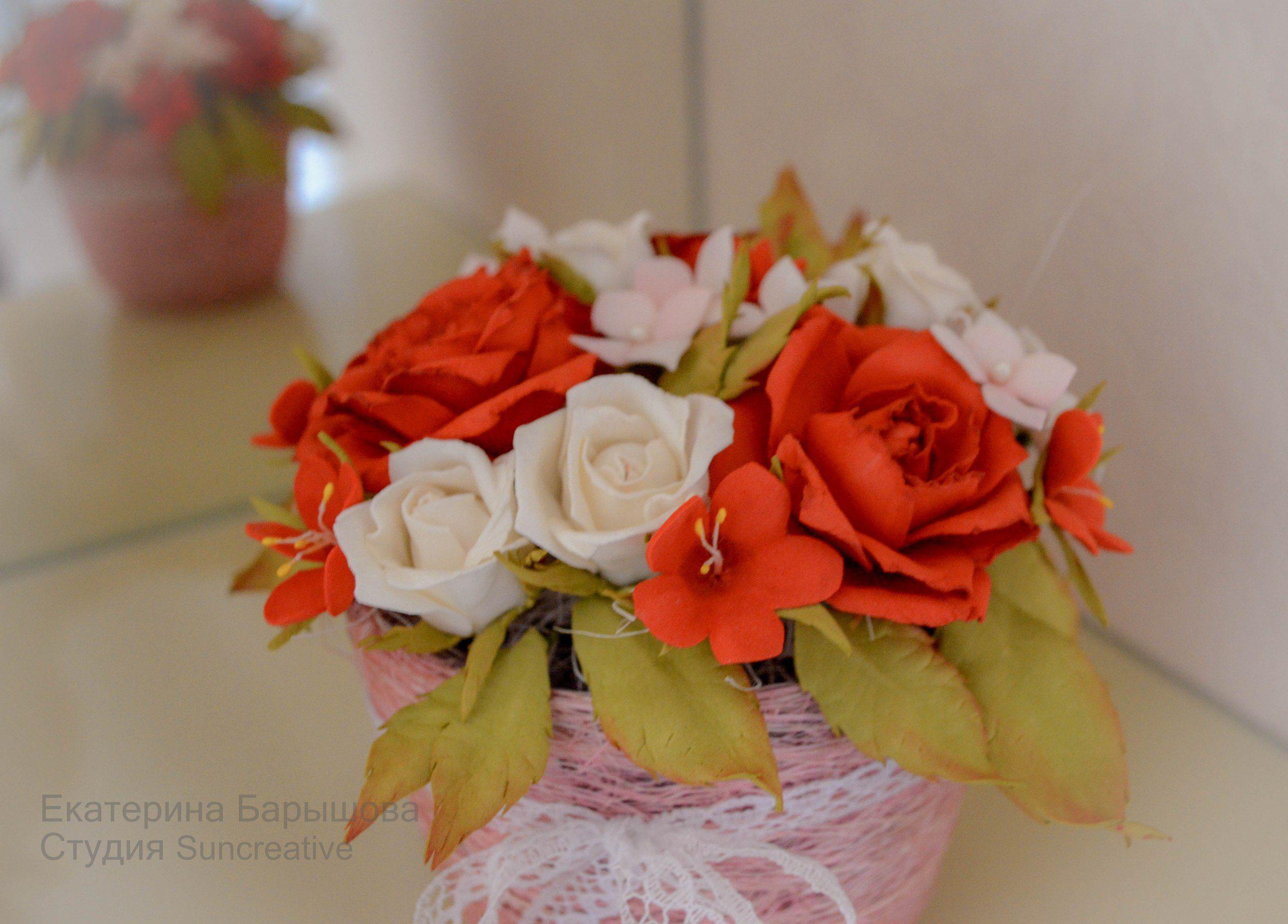 композиция цветочная цветы. букет гортензия праздник фоамиран роза подарок цветы_аксессуар_suncreative