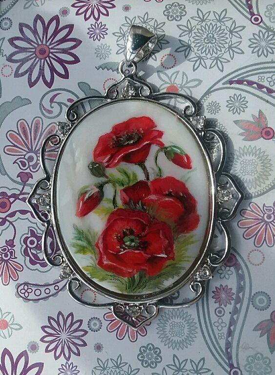 маки подарок эксклюзив кулон украшение перламутр роспись подвеска цветы