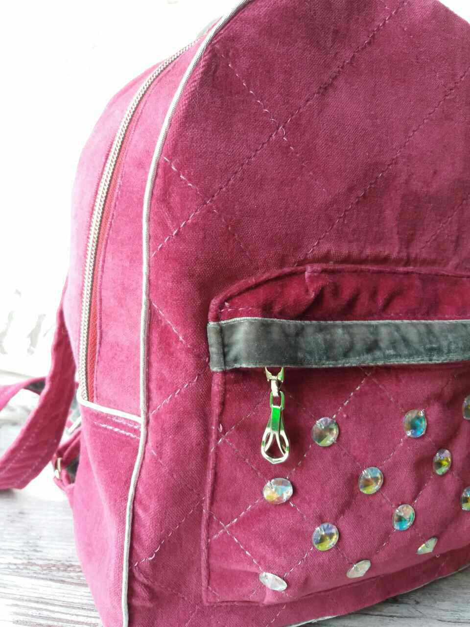 стёганый бархатный рюкзак велюровый