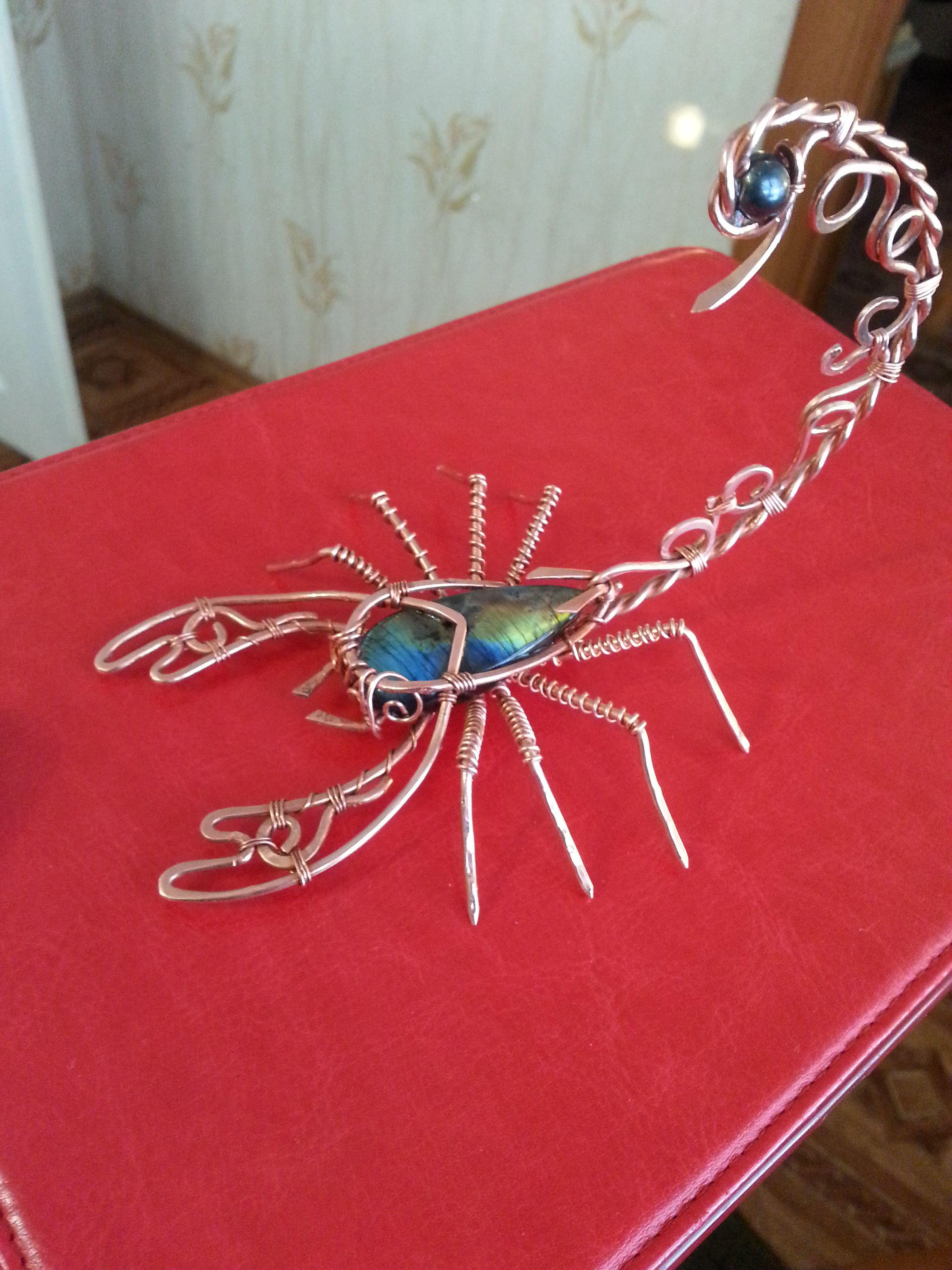 статуэтка скорпион wirewrapмедьлабрадор