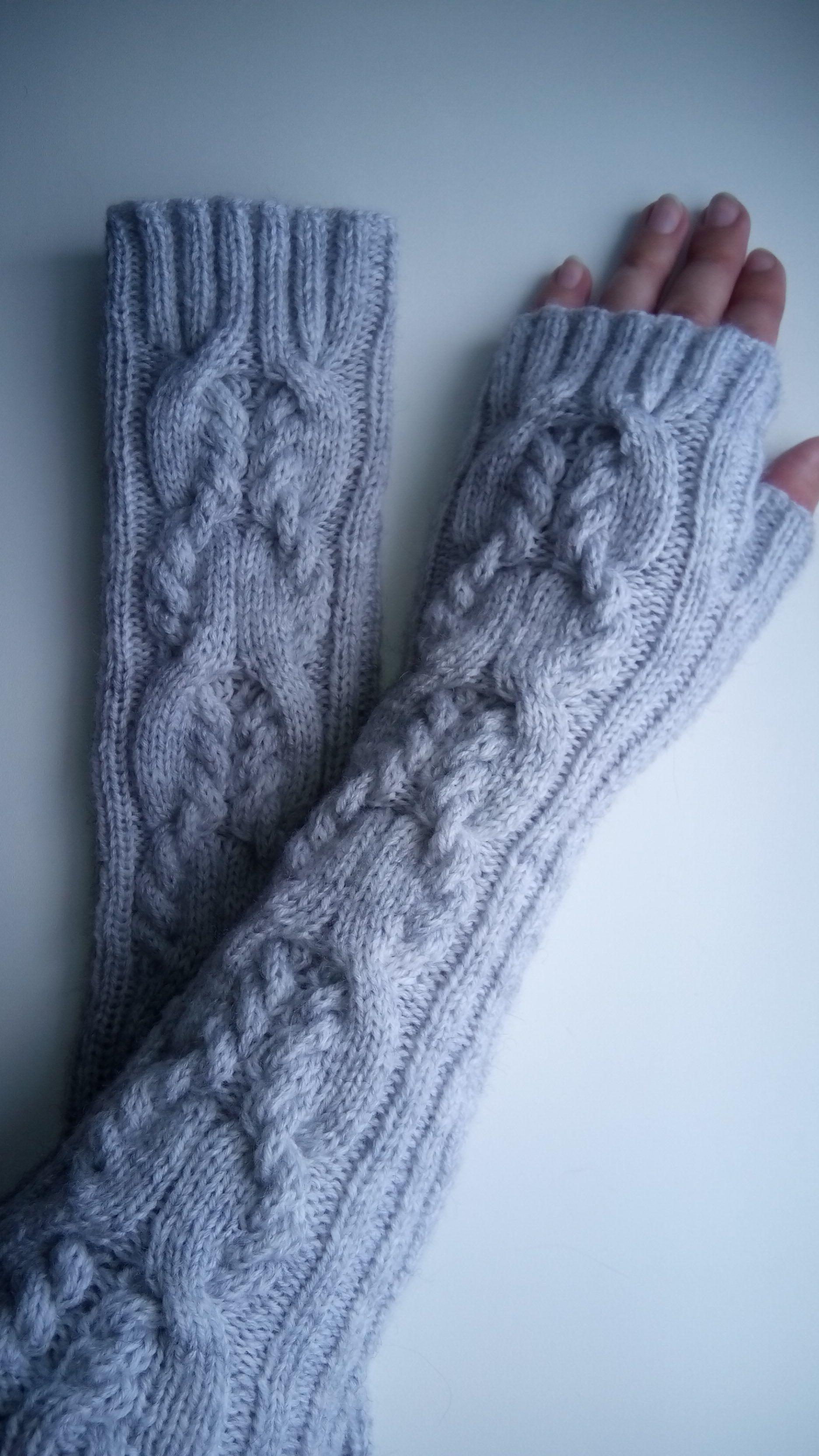 женщине вязание длинные теплые митенки спицами