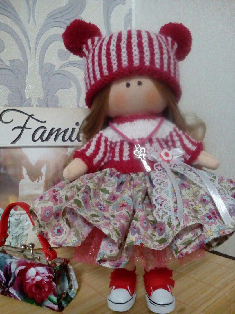 трикотаж интерьерная малышка вязанные кулирка одежки новыйгод деньрождения кукла ручнаяработа подарок