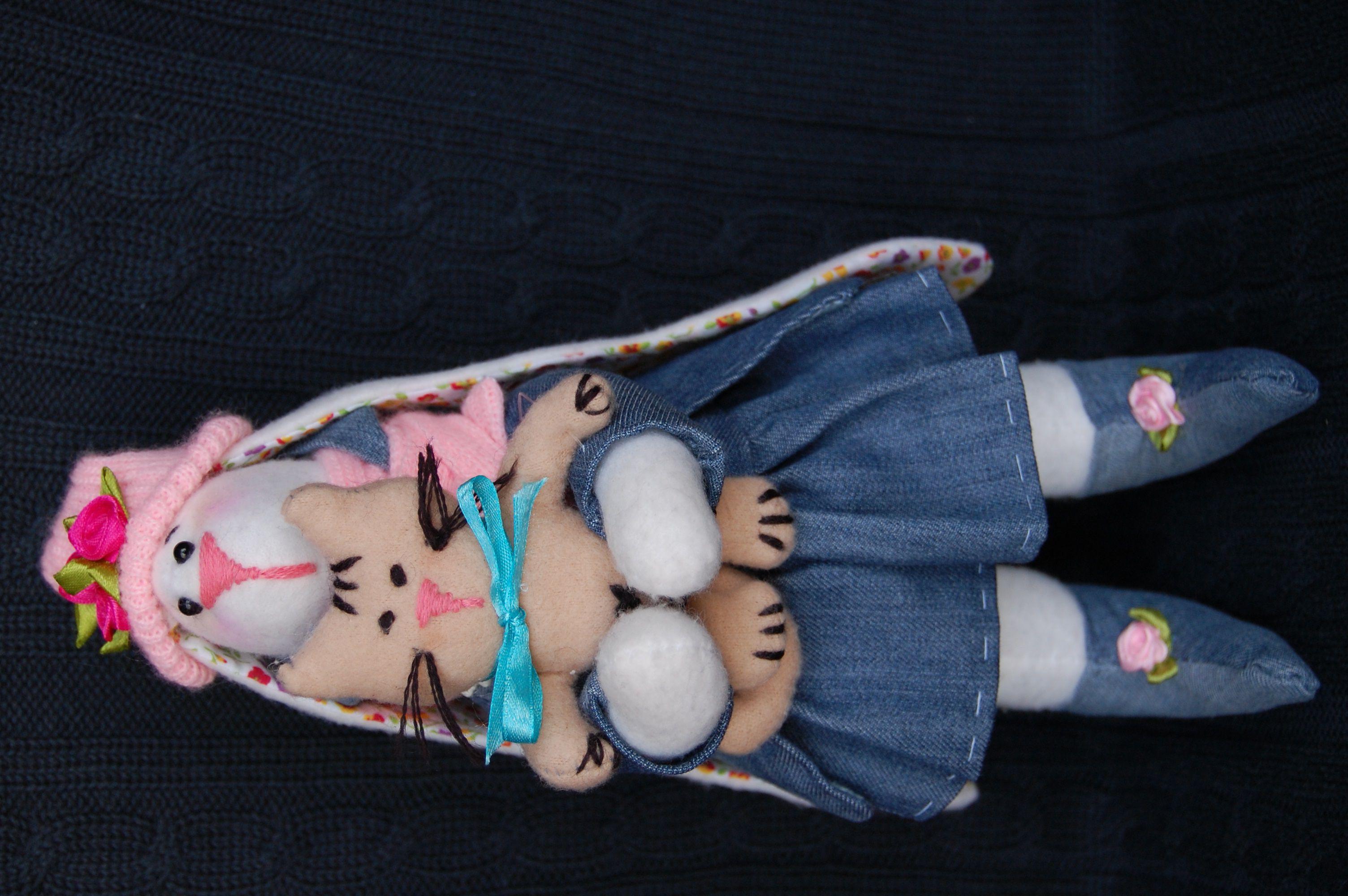 игрушка работа ручная украшение интерьер тильда зайка подарок