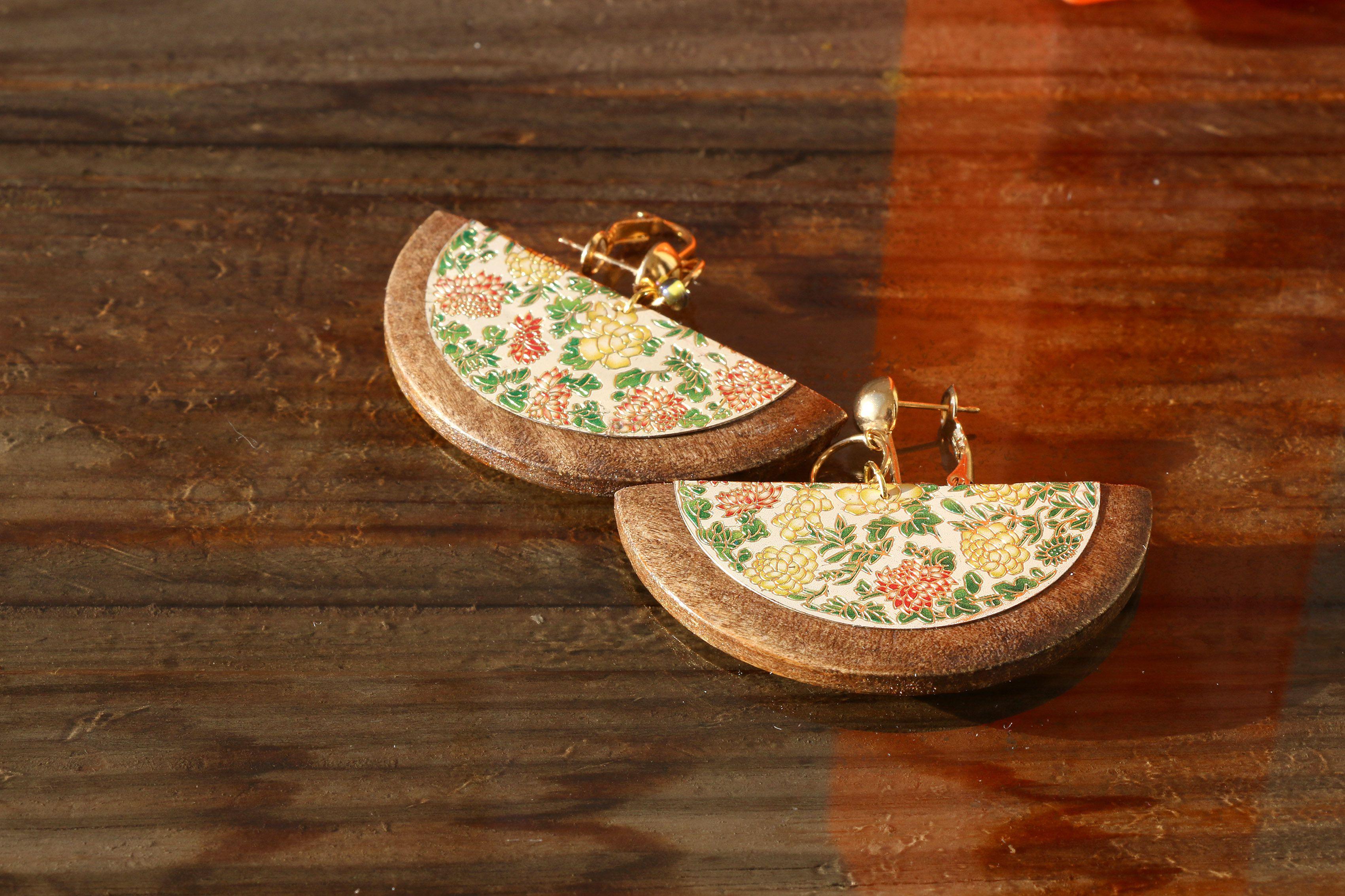 колье зеленый этнический золотистый серьги бохо кистью китайский кисть шинуазри орнамент крупные кирпичный цветы натуральные