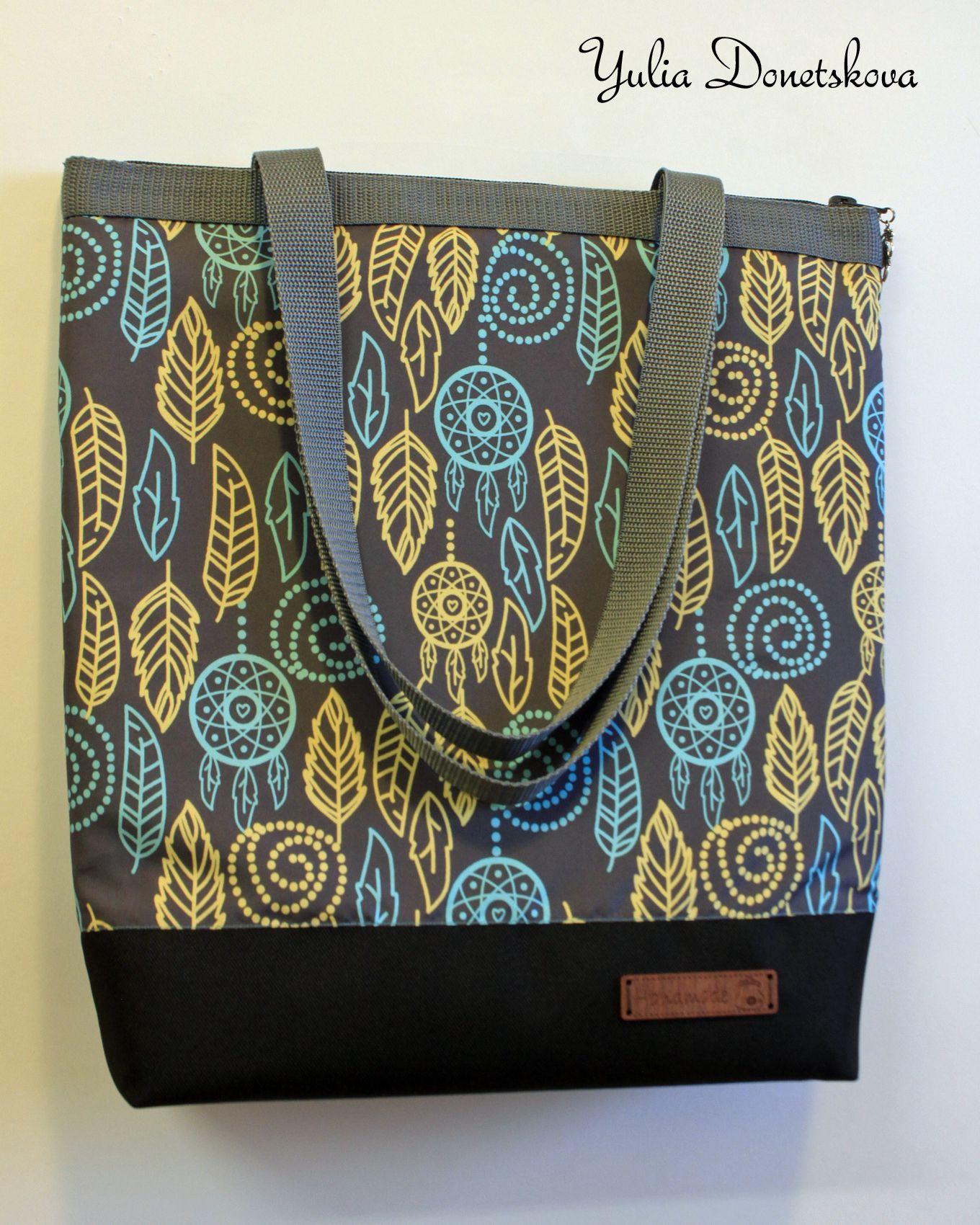 листва плечо вместительная узор сумка handmade серый на