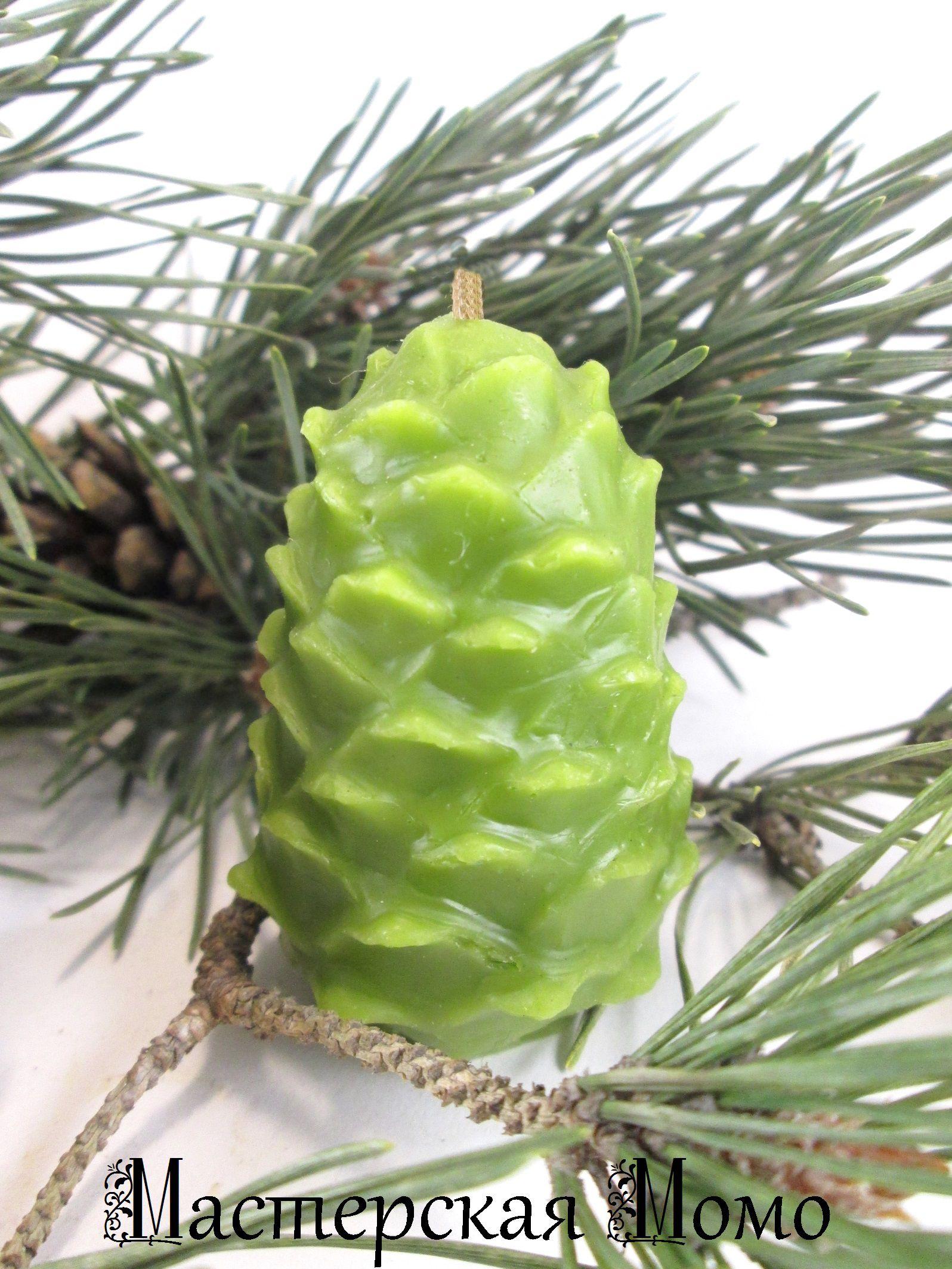свеча зеленая свечи новогодний рождество сувенир кедровая шишка восковая добрый ручной работы подарок рождественский