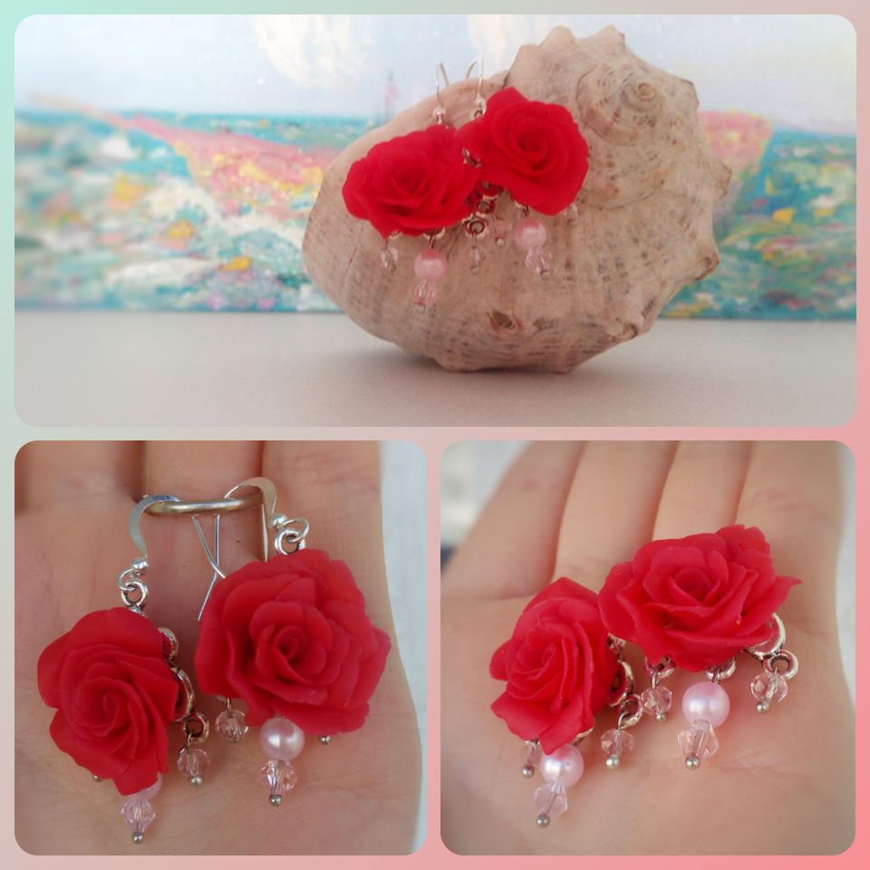 сережки украшения розы красиво