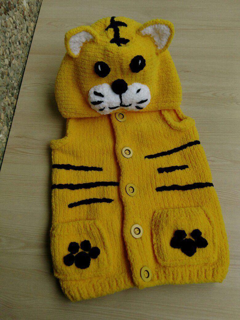 жилетка назаказ тигр madenika handmade хендмейд зверожилетка стиль китти заказ вязание ручнаяработа длядетей мода авторская