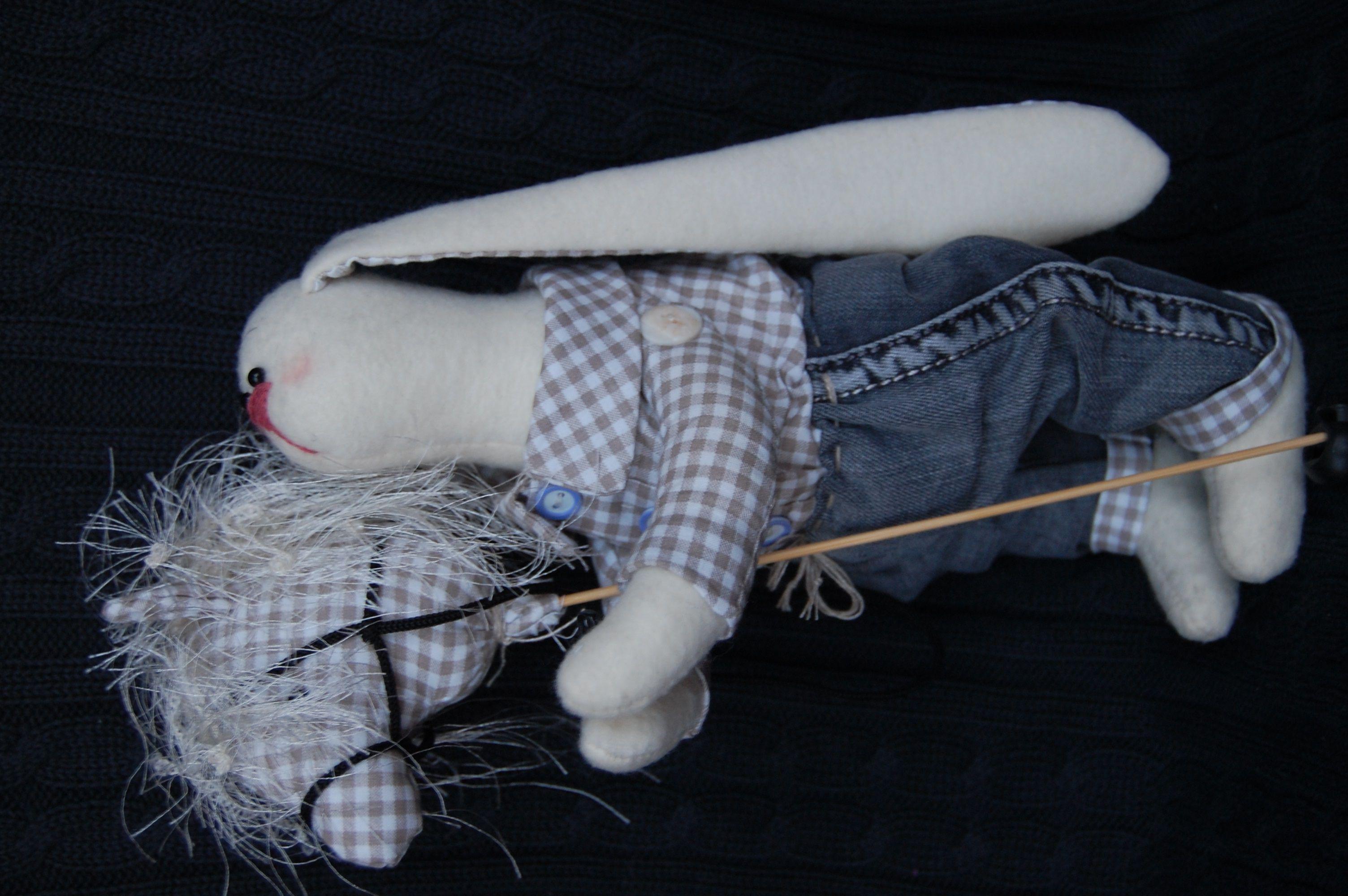игрушка работа ручная украшение интерьер тильда зайчик подарок