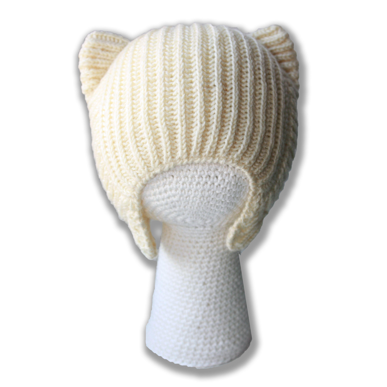 вязаная кошка связанное ушки английская шляпы купить и шапочка детям аксессуары ручная резинка шапки спицами шапка детские осенняя кошки кошечка котошапка продажа работа. белая