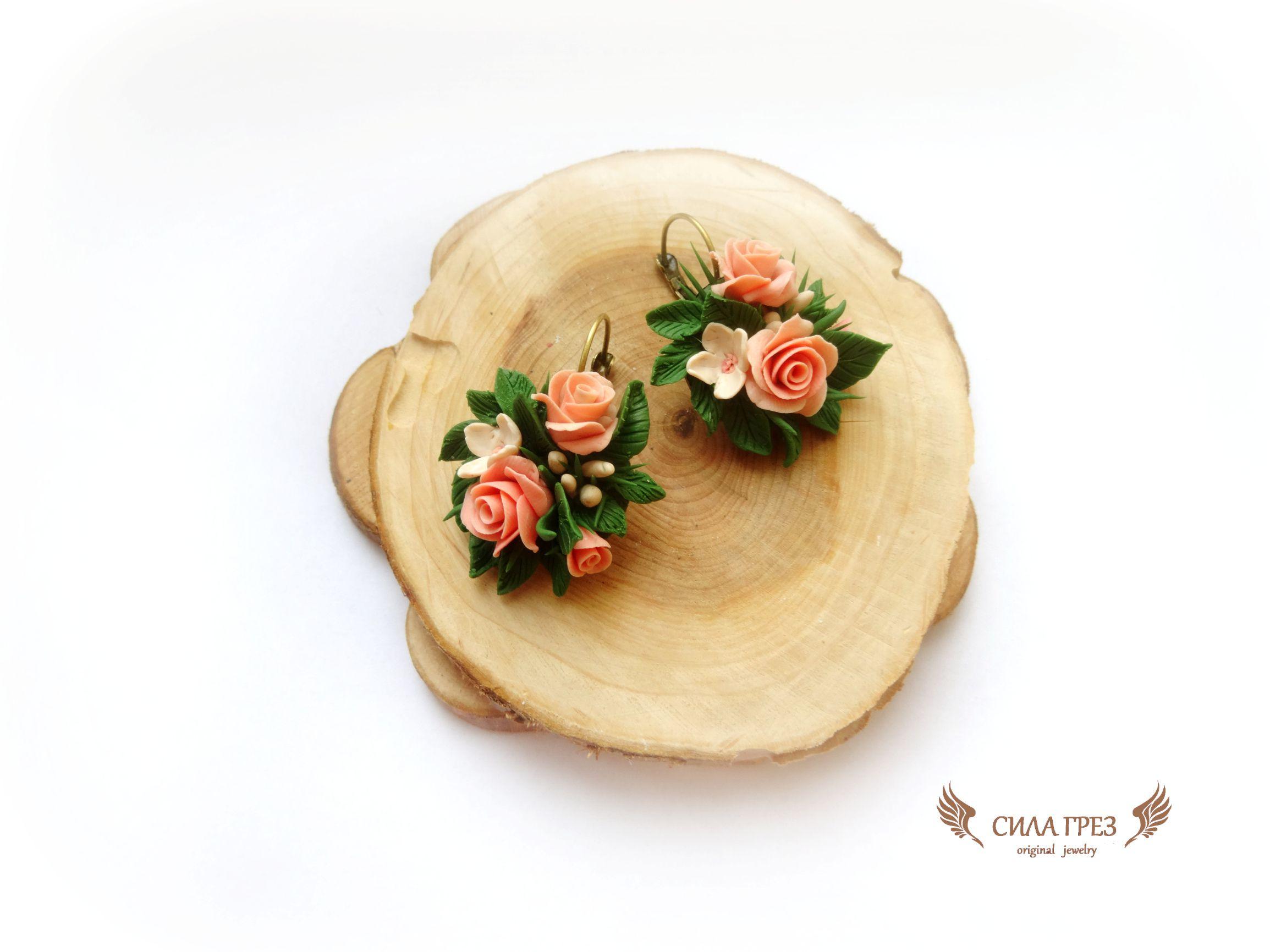 подарок серьги букет силагрез украшения весна розы сирень цветы миниатюра полимернаяглина бижутерия