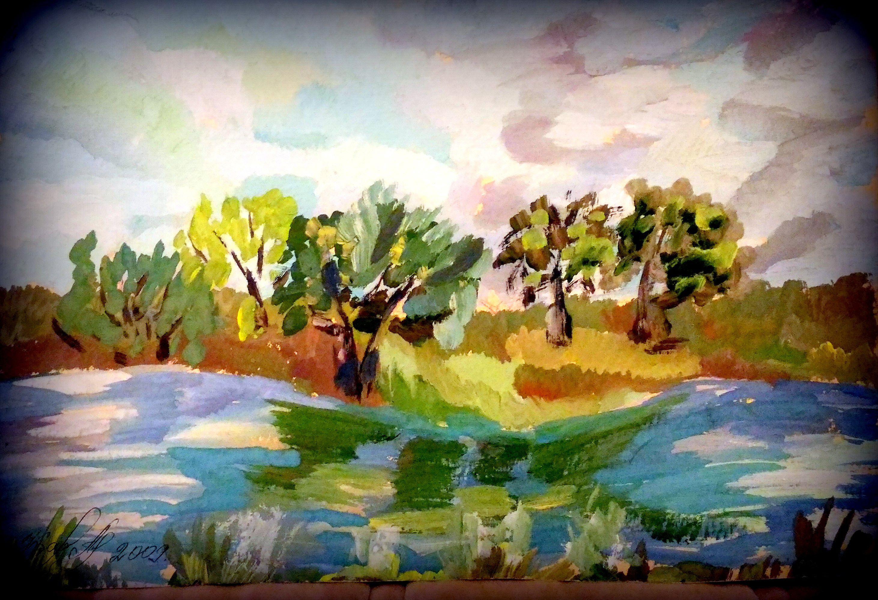 современная пейзаж городской живопись гуашь живописьрека город импрессионизм картина