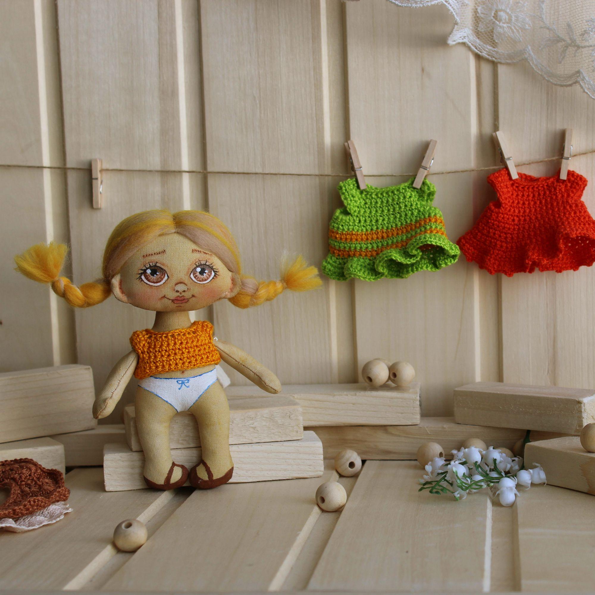 подарок кукла одежде съемной игровая ручной работы оригинальный текстильная
