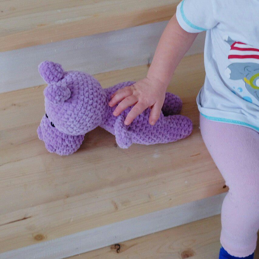 вязаный бегемот игрушка амигуруми игрушкакрючком плюшевый вязанаяигрушка крючком