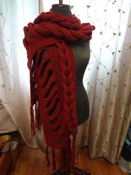вязанный палантин косами с шарф