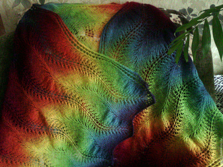 вязаный палантин подарок женщине кауни девушке шарф шаль спицами