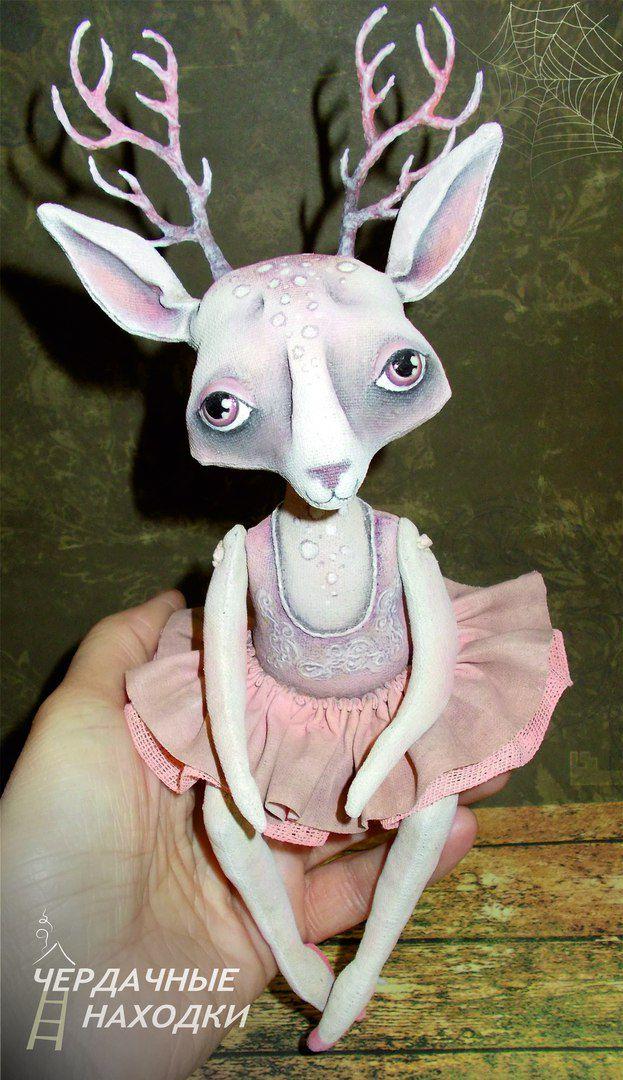 розовый олень handmade бязь акрил сувенир балерина ручнаяработа подарок