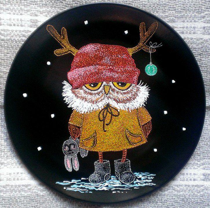 pointtopoint декоративнаятарелка совушки тарелка точечнаяроспись handmade декор сова ручнаяработа птицы подарок
