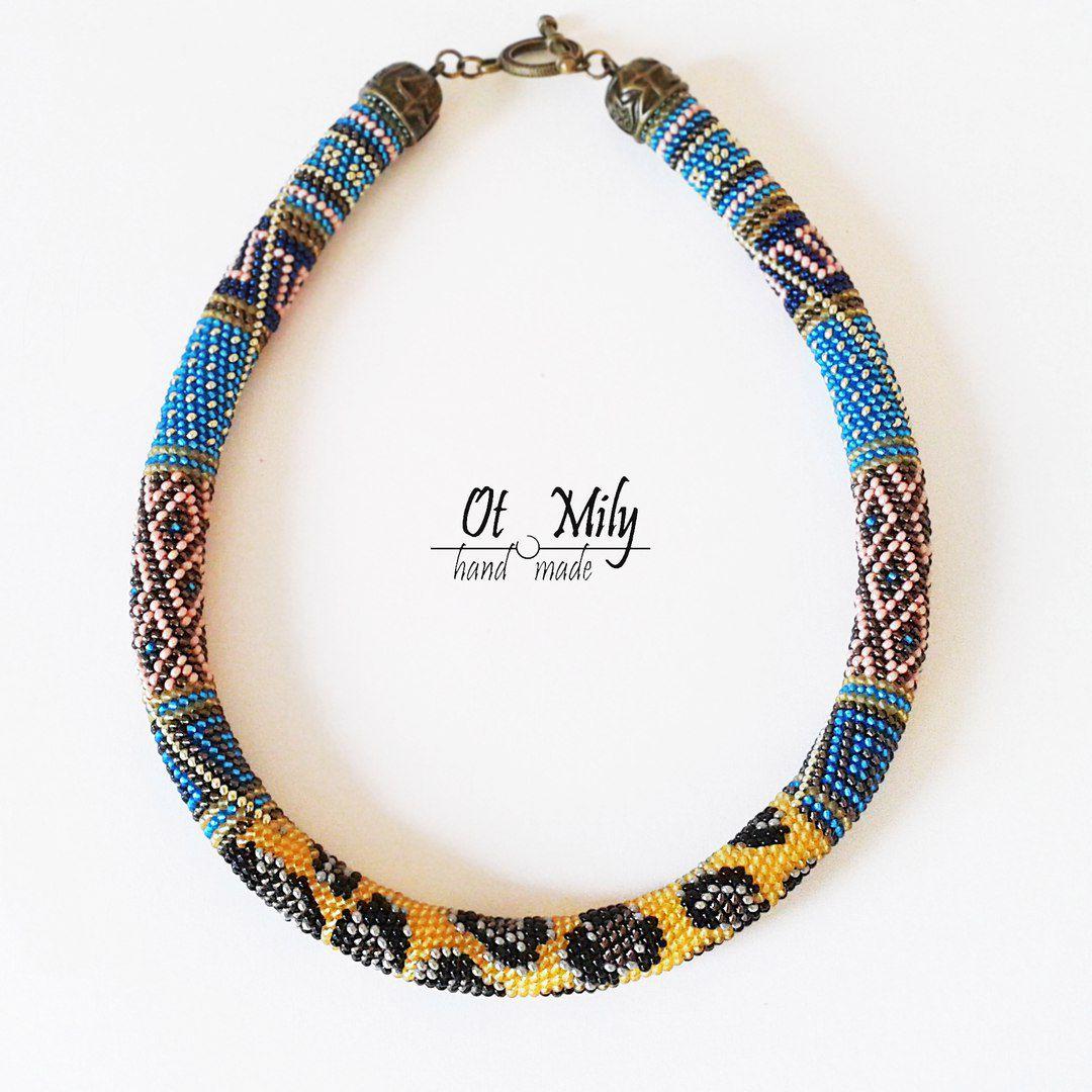 ожерелье вязаный бисера жгут бисер украшение шею колье бисерный