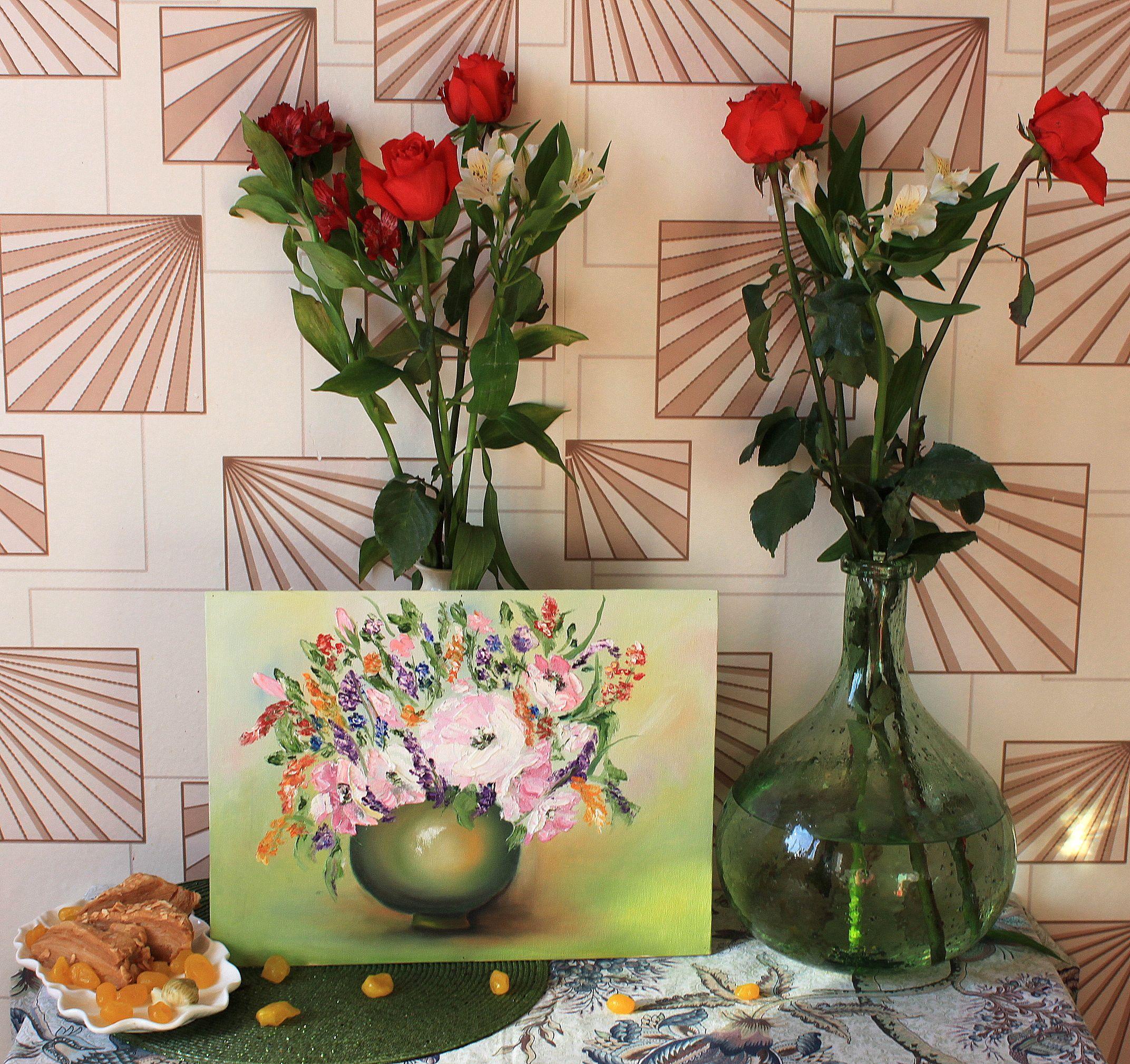 масло цветы ваза букет картина