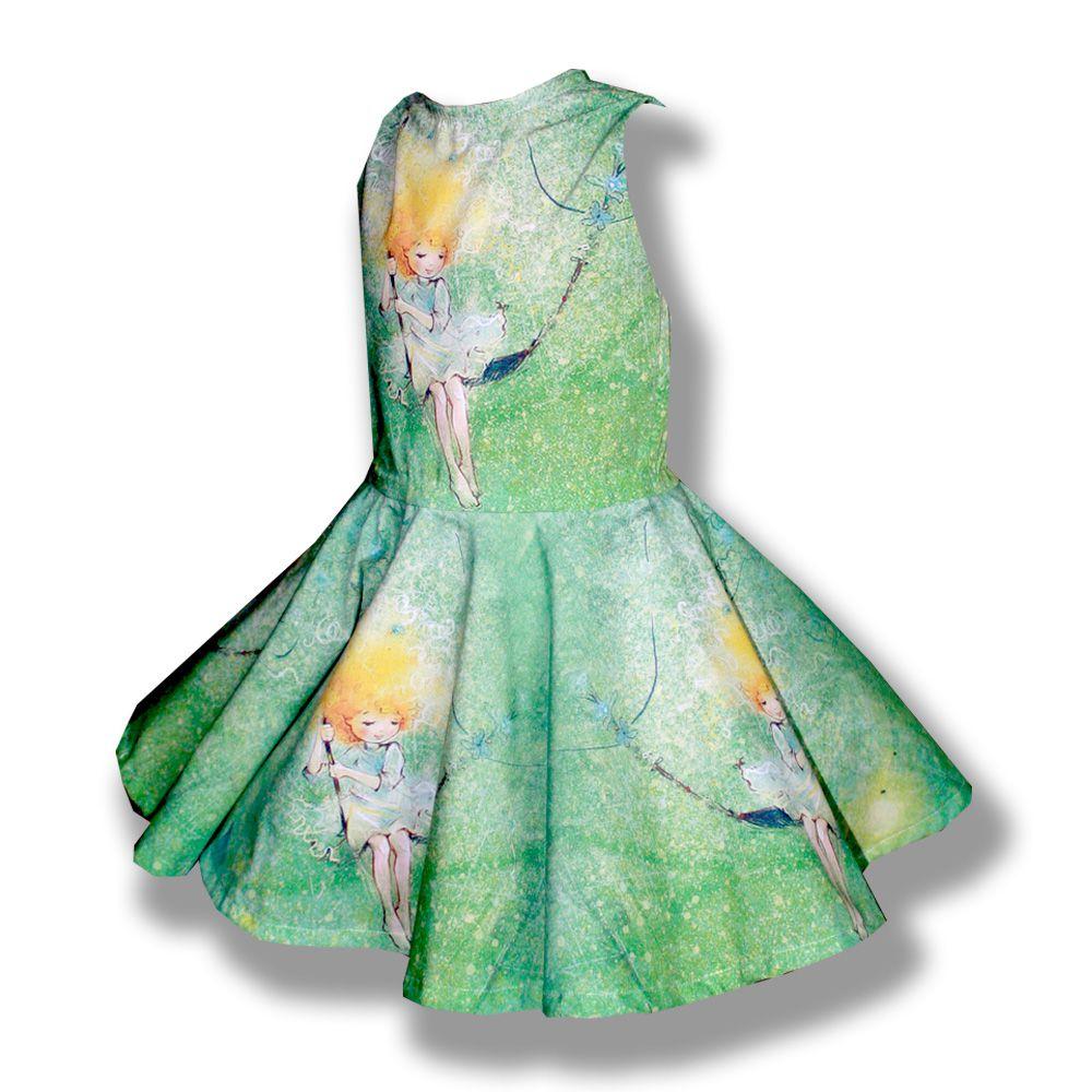 девочкам шитьё детская платья продажа лето нарядное детские рисунком фотопринт качели пышное работа с ручная желтое купить зеленое солнце платье одежда