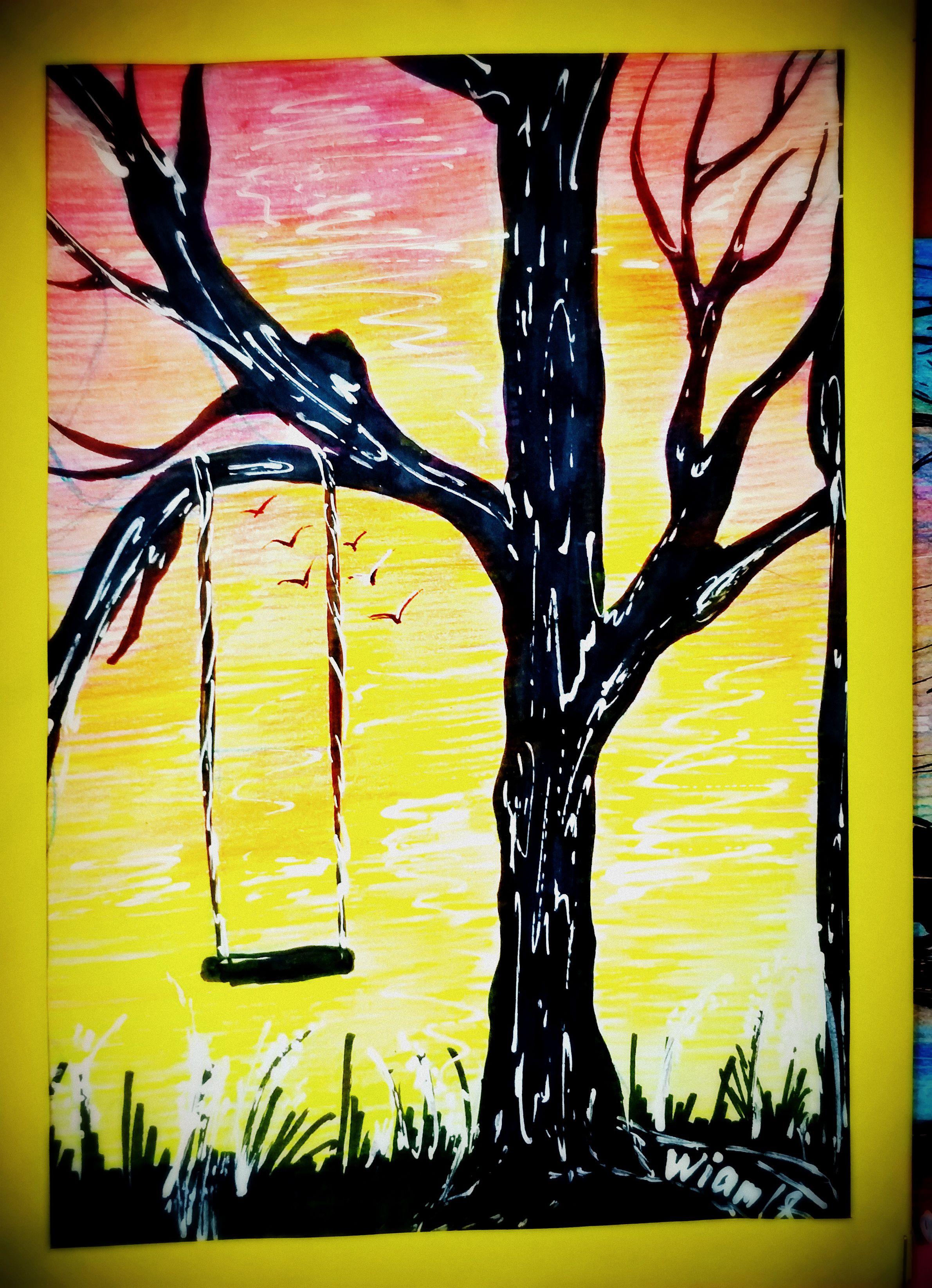 птицы рассвет гамак дество маркеры рисунок закат карандаши силуэт качели дерево цветные