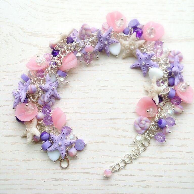 розовый море сиреневый морской ракушки бижутерия бусины украшение браслет подарок