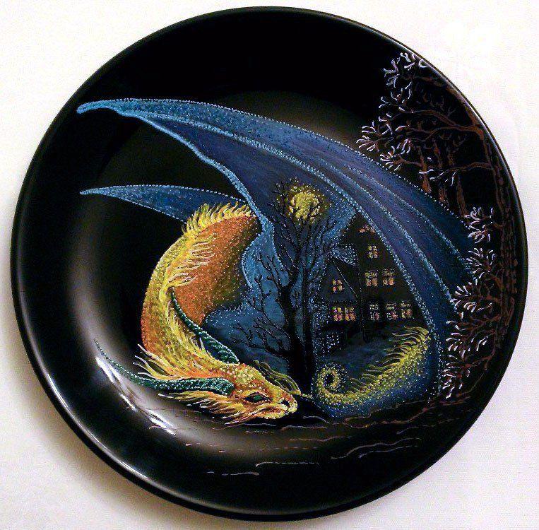 ручнаяработа подарок декоративнаятарелка декор точечнаяроспись тарелка дракон handmade