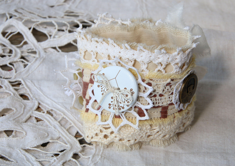 ретро айвори слоновая кружевной шоколадный винтаж бронза кость текстильный браслет натуральные шеби молочный