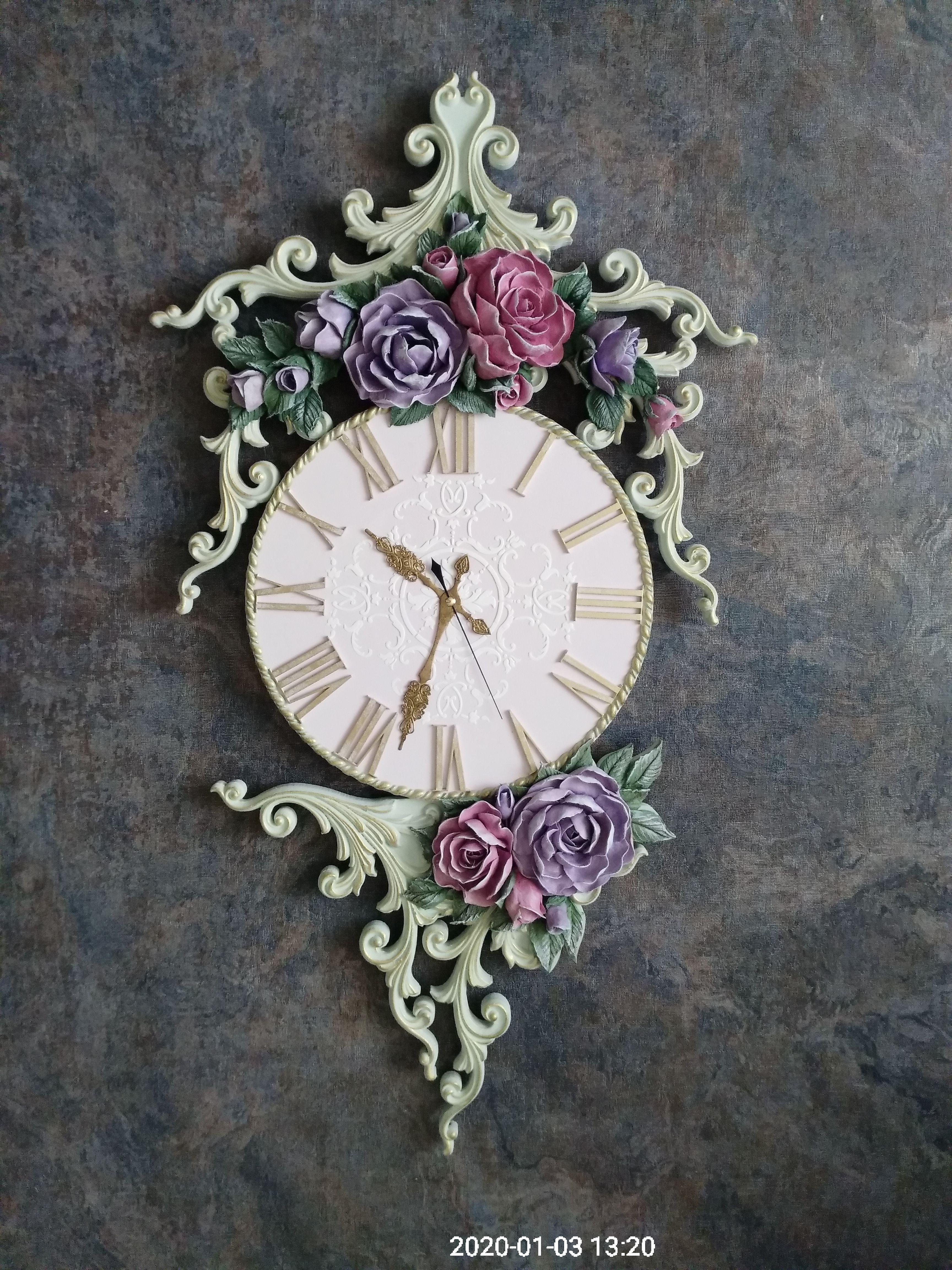 подарок работа ручная уют интерьер прованс шебби часы дом