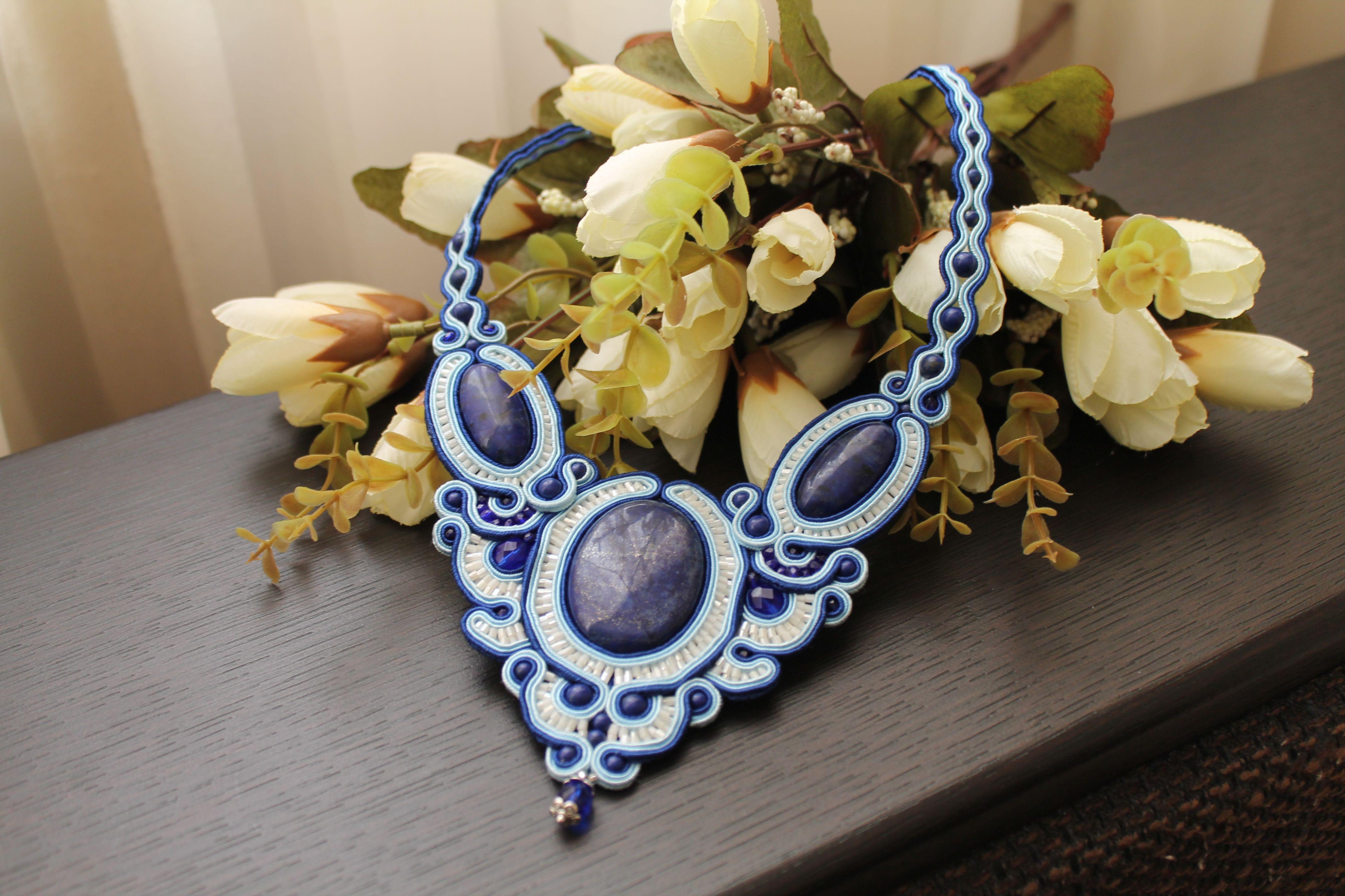 сутажная украшение вышивка ручная синий бижутерия работа белый натуральные колье сутаж кулон камни