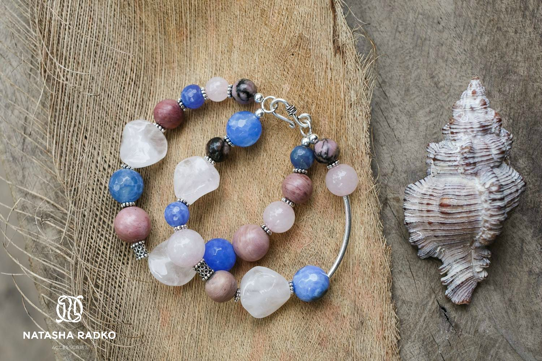 подарок браслет агат кварц розовый украшение серебро камни родонит натуральные