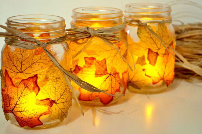 хендмейд декупаж осень декор интерьер своимируками подсвечник сделайсам идея креатив свеча креативнаяидея осенниелистья