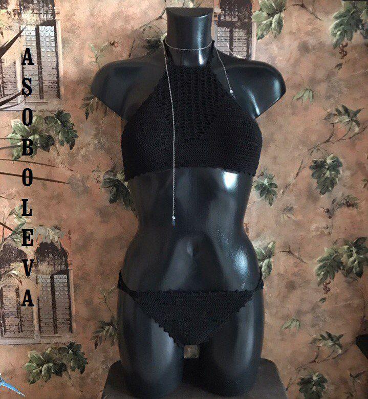 купальник вязание черный топ вязанный