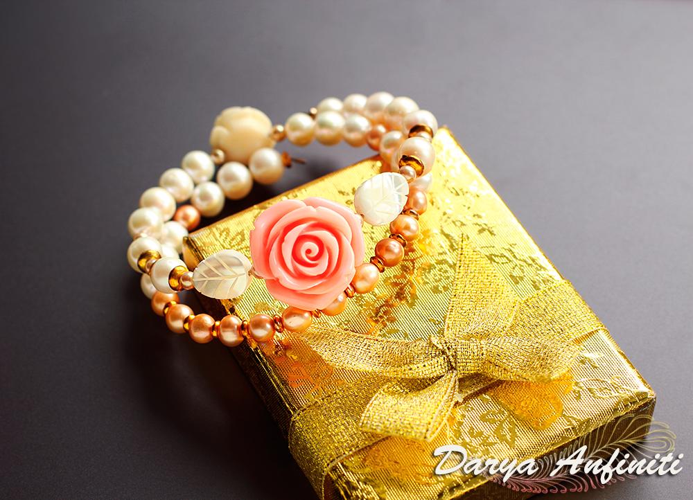 браслет жемчуг леска bracelet перламутр хэндмейд розочка цветы