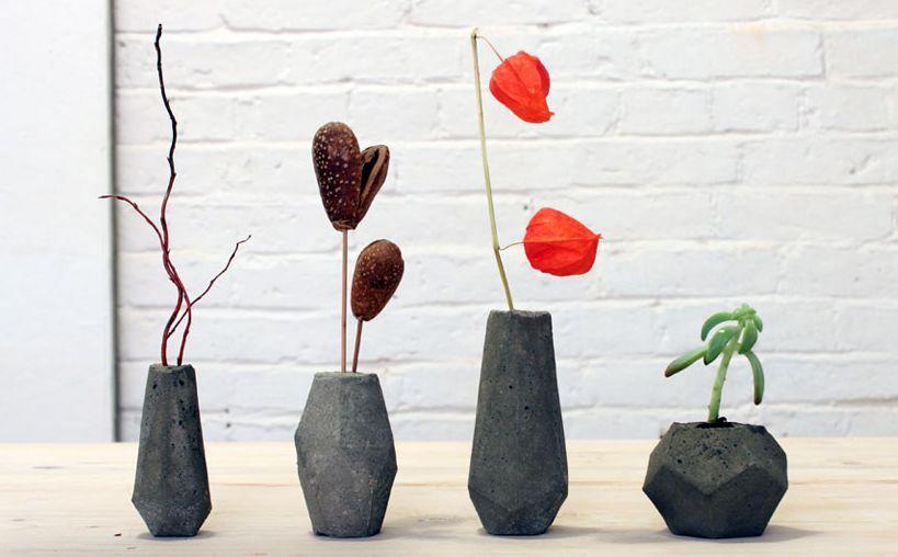 идея бетон оригинально ваза декор интерьер дизайн цветы красиво