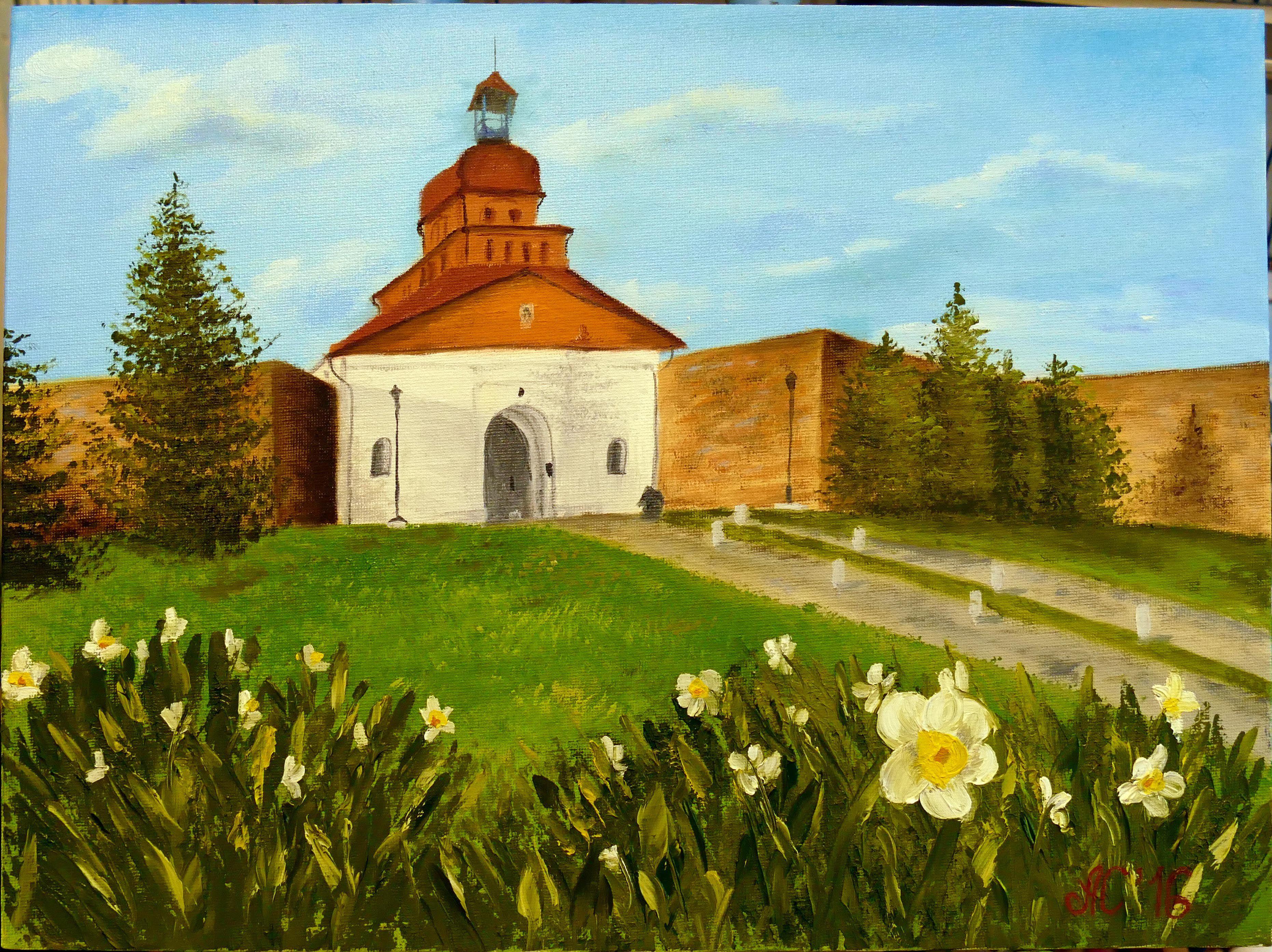 картина крепость кузнецкая город живопись лето