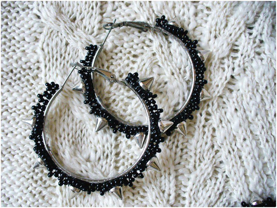 серьгикольца лавкалисицы шипы бисер handmade ручнаяработа черный