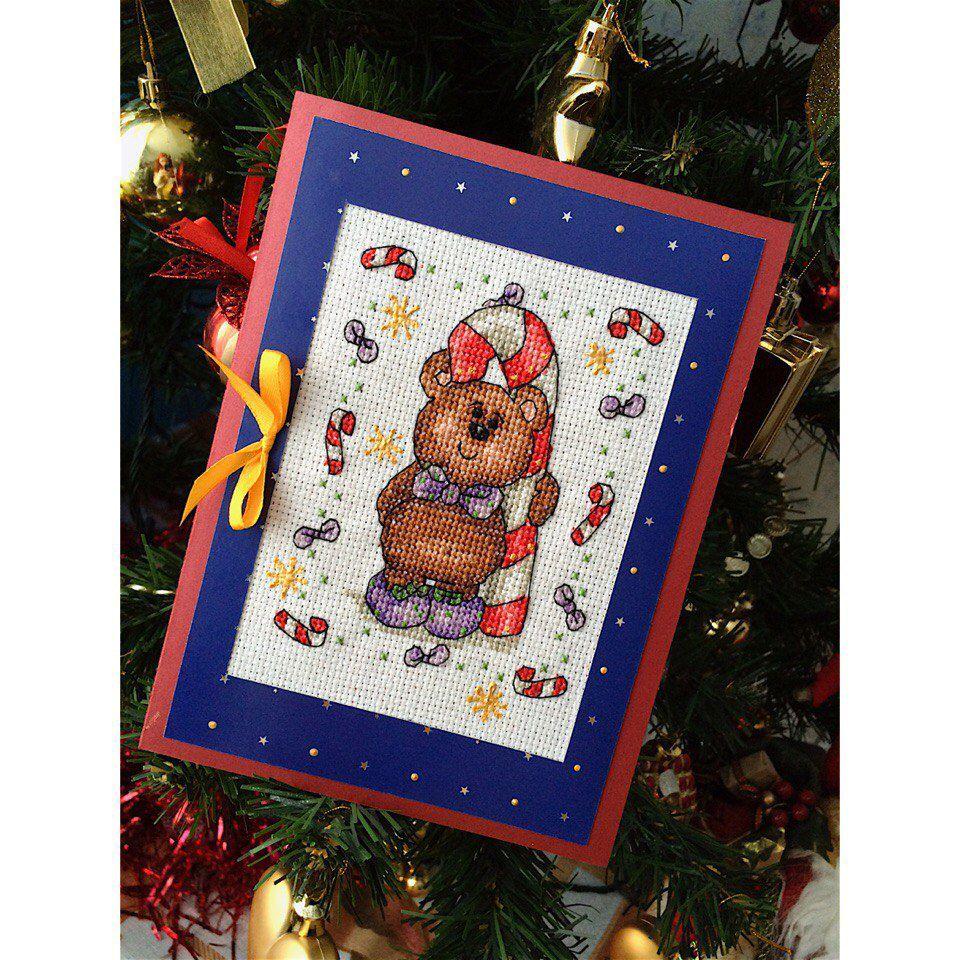 медведь подарок праздник открытка тедди вышивкакрестиком