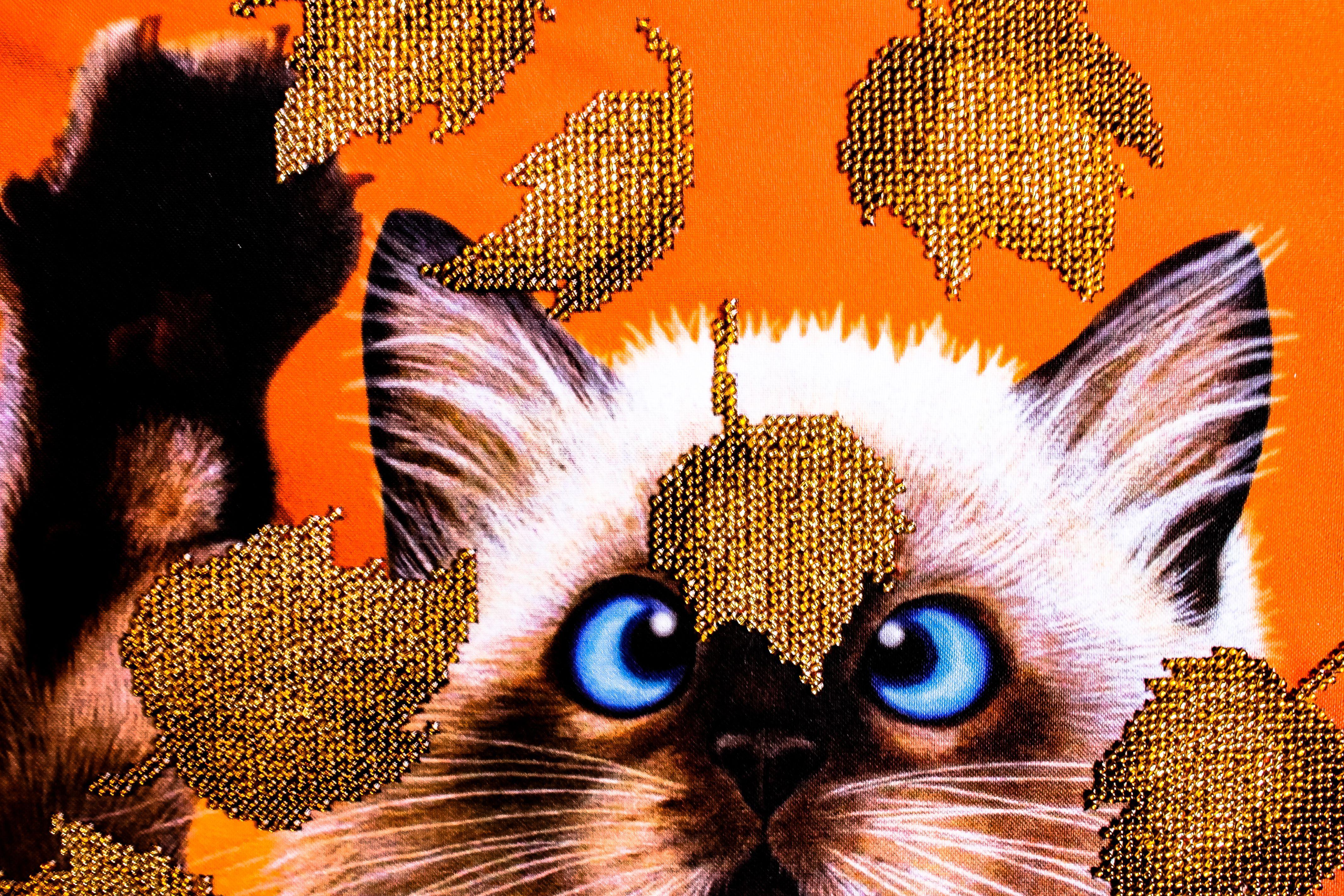 коричневый buy картина подарок бисера picture interior животные beads cat котенок вышитая кот handmade вышитые листьях for вышивка бисером бисер котик