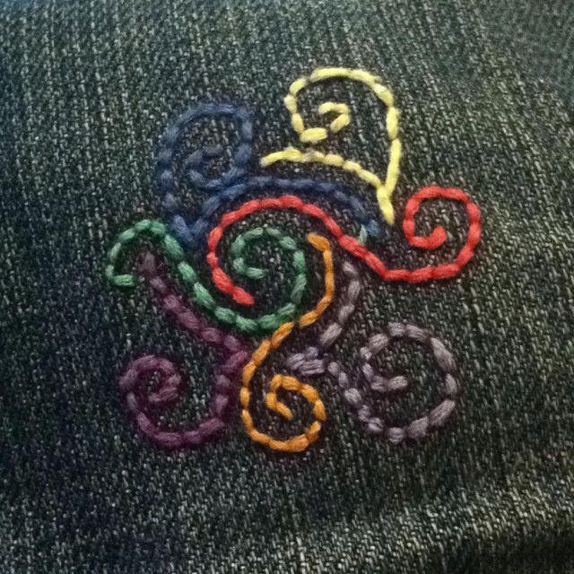 джинсовая обновление одежды вышивка одежда дизайнерская дизайн руками своими сделай сам