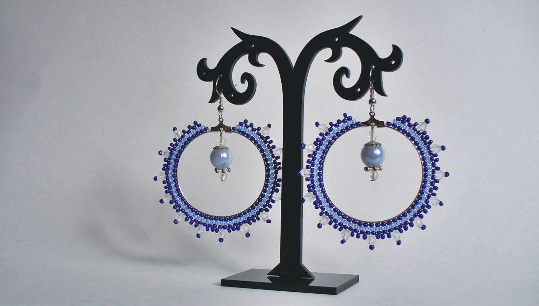 ручнаяработа синий бисер серьги бисероплетение голубой handmade рукоделие лавкалисицы