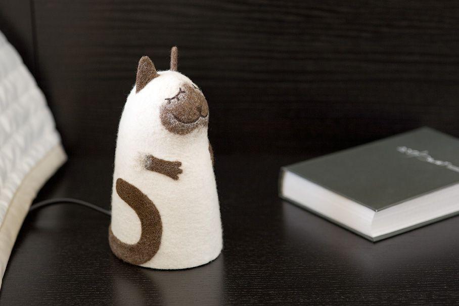 сиамский валяный ночник войлок кот кошка коричневый светильник бежевый