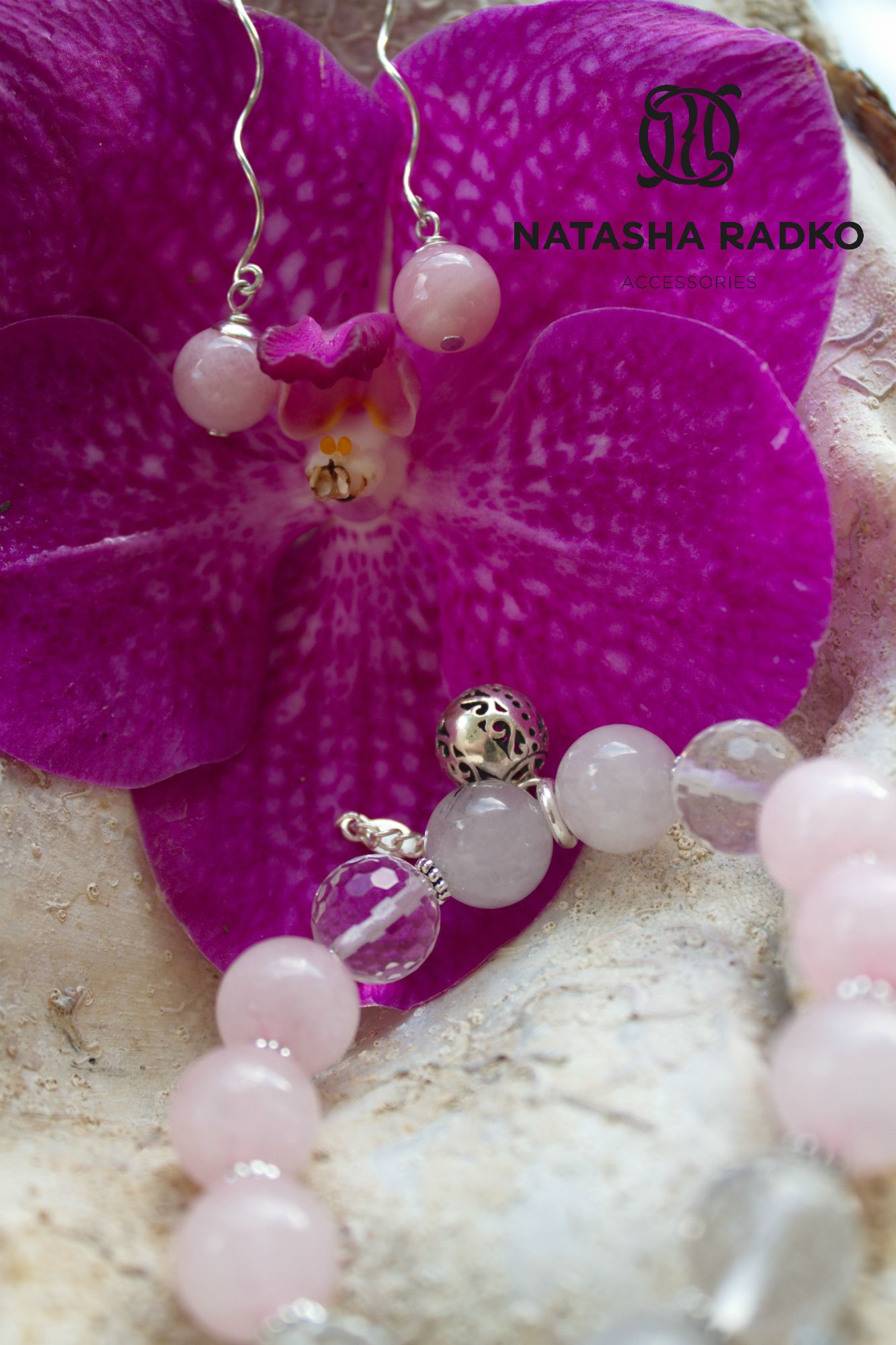 украшение браслет натуральные серебро камни кварц подарок