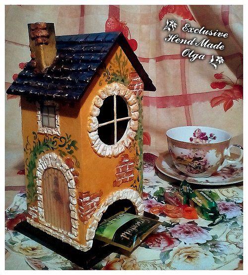 домик чай декупаж подарок